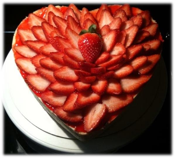 Heart Shaped Strawberry Cheesecake Framed