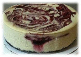 white chocolate cheesecake with raspberry